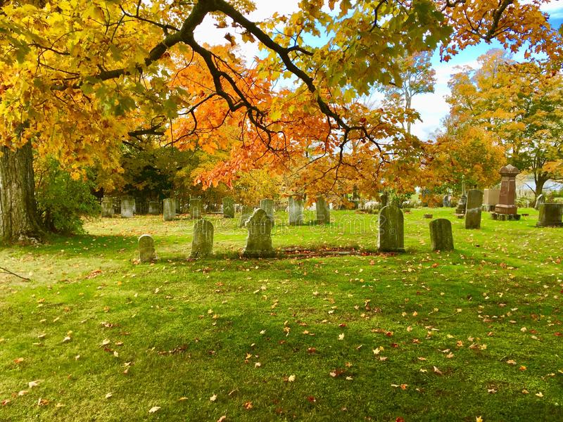 Old cemetery in fall, central Maine stock photo