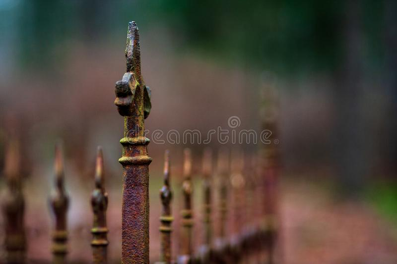 old cemetery gates in autumn stock photography