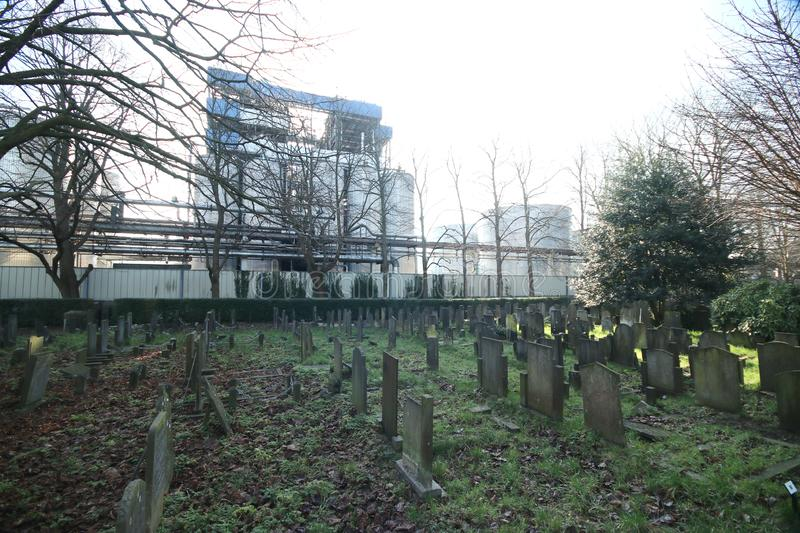 Old cemetery of Gouda behind the Croda factory where last person burried was in 1971. Volentueers are maintaining it stock image