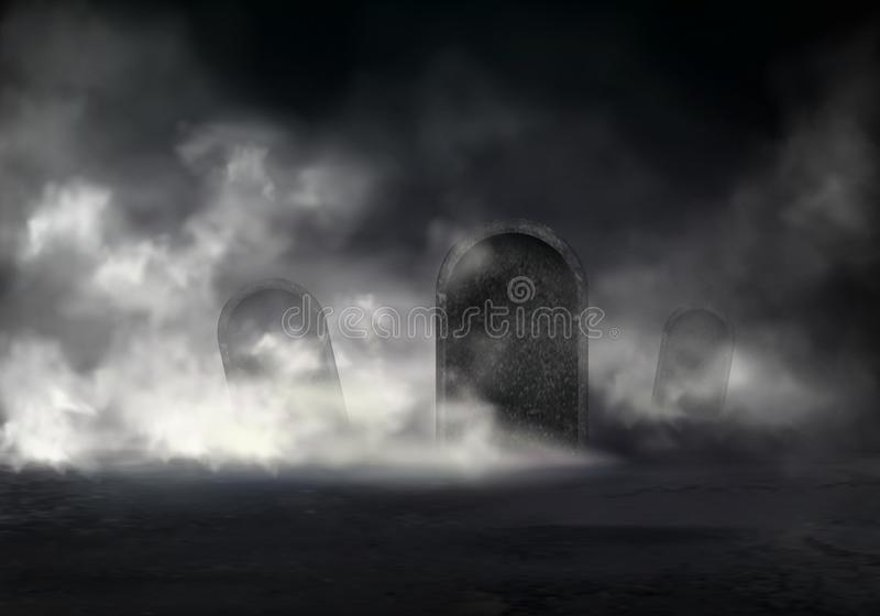 Horror scene on old cemetery realistic vector royalty free illustration