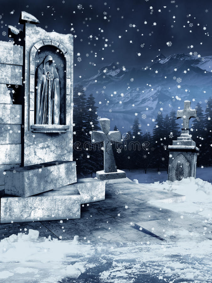 Download Old cemetery with snow stock illustration. Image of graveyard - 22256499