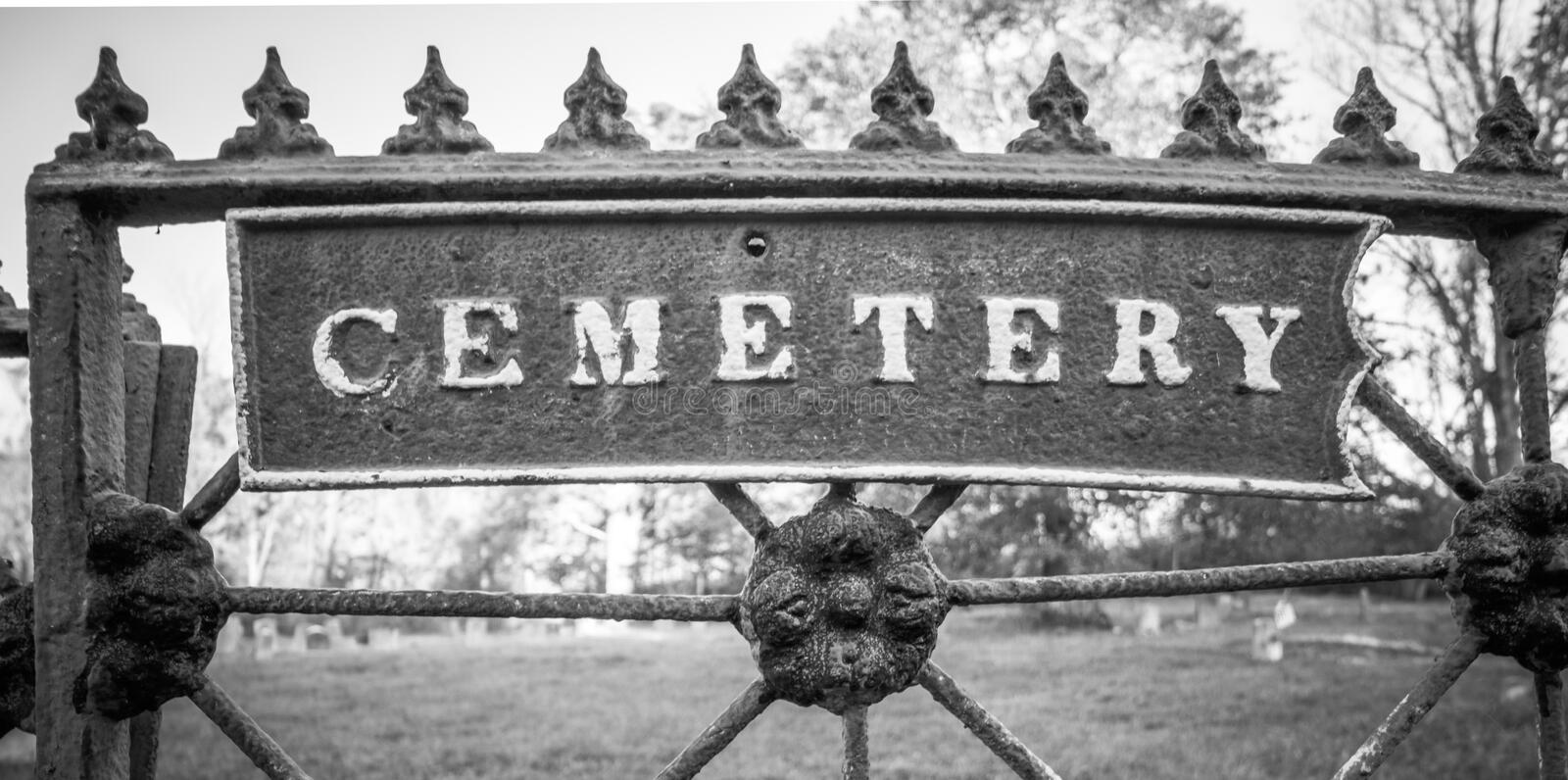 Old cemetery and tombstones in rural town, black and white. Old cemetery and tombstones in rural town of Wantage, NJ, from 1800`s, black and white royalty free stock photos