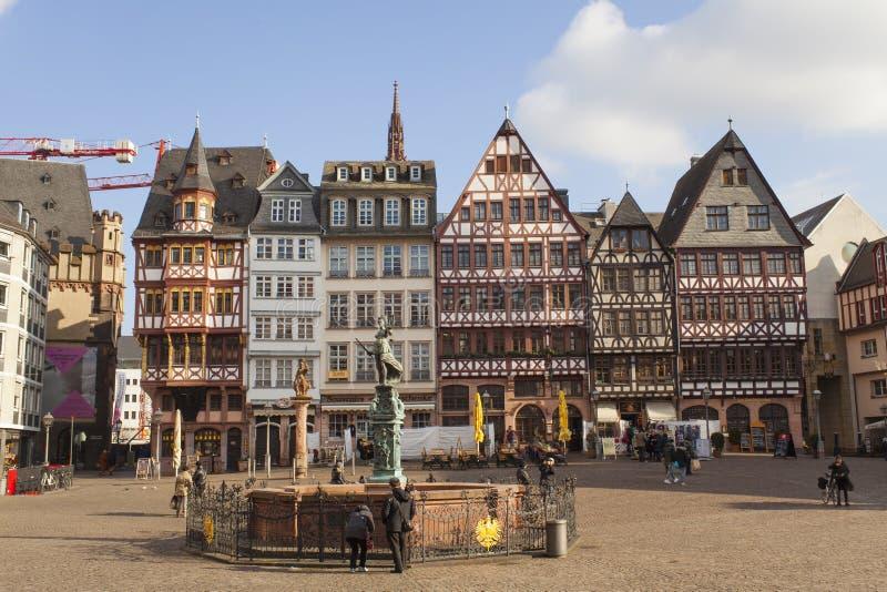 Old center of Frankfurt Am Main city, Romer. Germany stock images