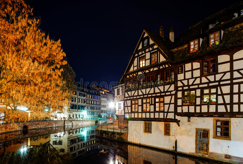 old center of strasbourg night street view stock image image of christmas houses 82922475. Black Bedroom Furniture Sets. Home Design Ideas