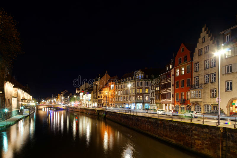 Old center of Strasbourg night street view. France royalty free stock images