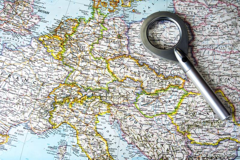Old central europe map with east and west Germany.  stock photo