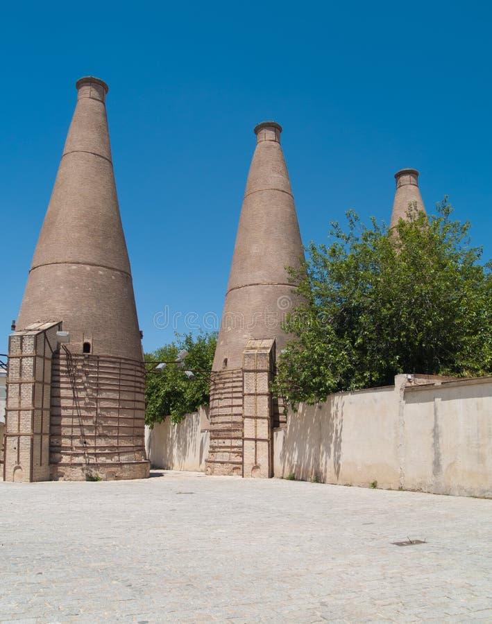 Old ceramic chimneys, Seville stock photography