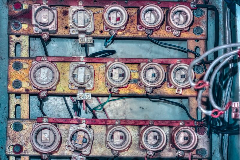 Old ceramic fuse panel stock images