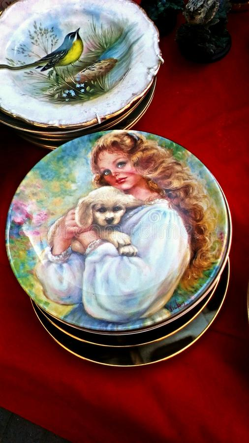 Old ceramic plates stock photography