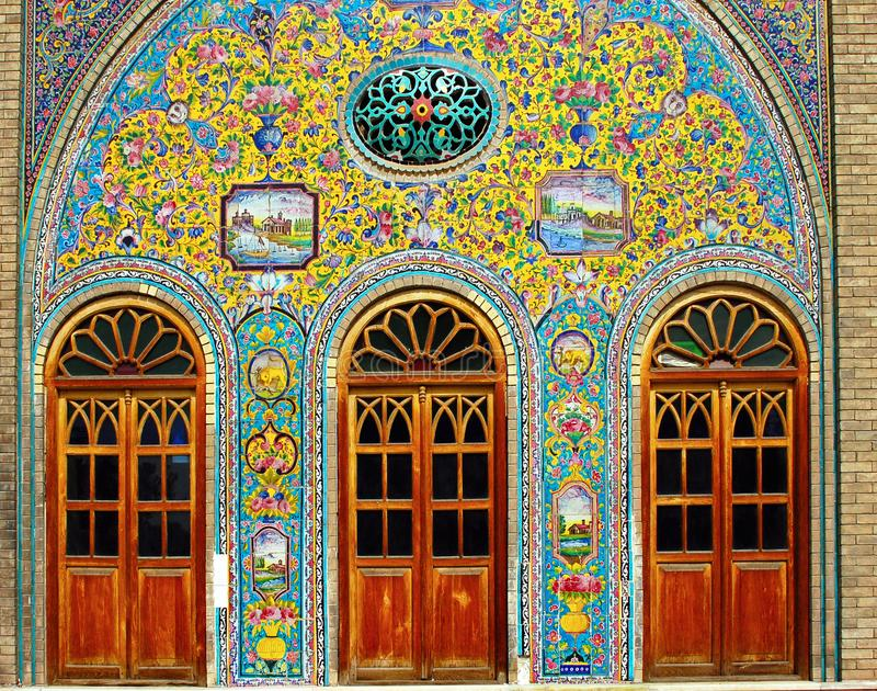 Old ceramic tiles of Golestan in Tehran, Iran. Old ceramic tiles on the wall of the royal palace Golestan in Tehran, Iran stock photography