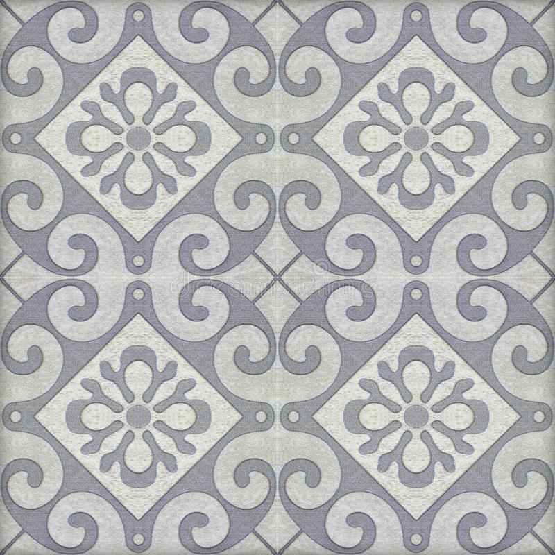 Old ceramic tiles patterns. Handicraft from thailand in the park public stock illustration