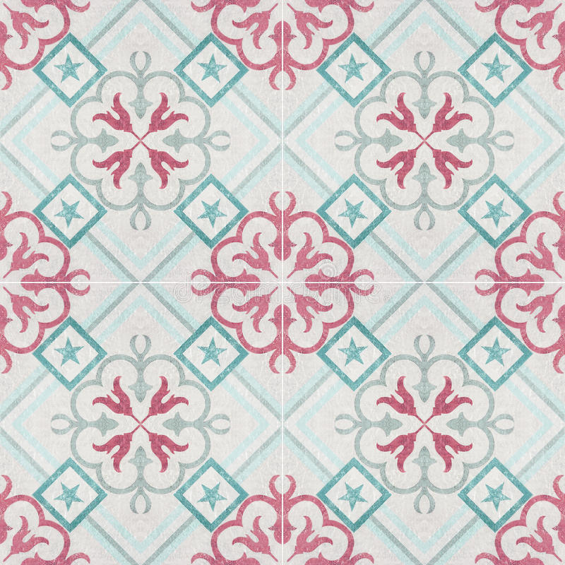 Old ceramic tiles patterns. In the park public royalty free illustration