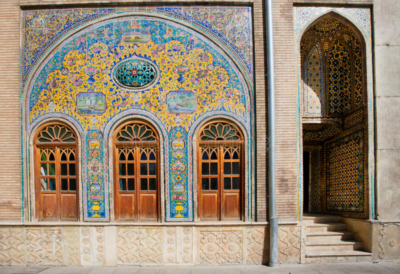 Old ceramic tiles on the wall of the royal palace. Golestan in Tehran, Iran. Golestan Palace is the oldest groups of buildings in Teheran, became the seat of royalty free stock images