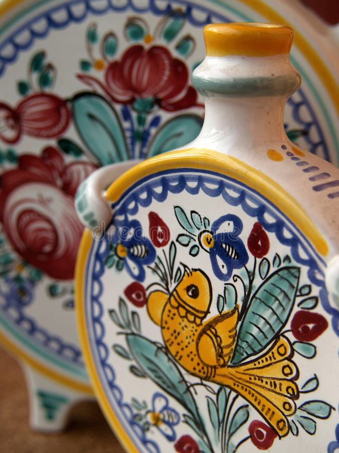 Old ceramic vessel. Part of the collection pitcher from majolica stock images
