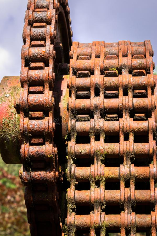 Old chain full of rust, old and not in use anymore royalty free stock photos