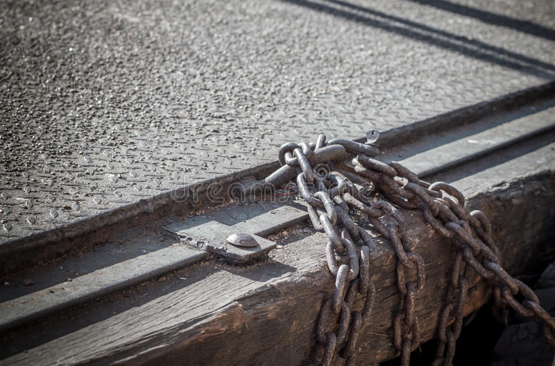 Old chain and metal sheet floor , selective focus and shallow de. The old chain and metal sheet floor , selective focus and shallow depth of field royalty free stock image