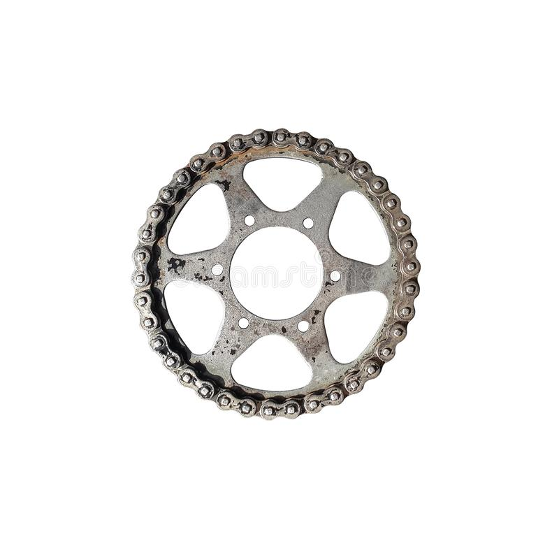 Old chain of motor engine. Close up of a dirty motorcycle chain. With a motor oil on a wheel and metal parts,Circle isolated on white background stock photo