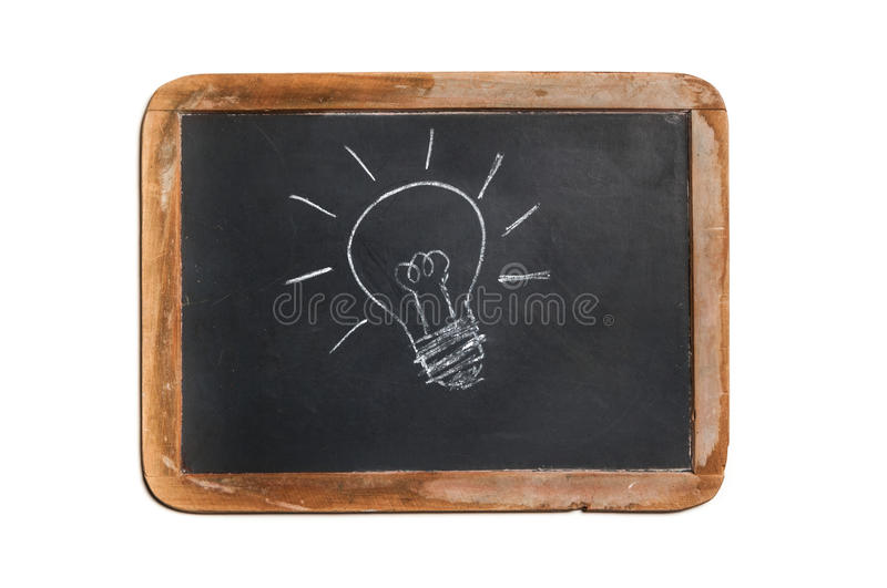 Old chalkboard with lightbulb drawing royalty free stock photo