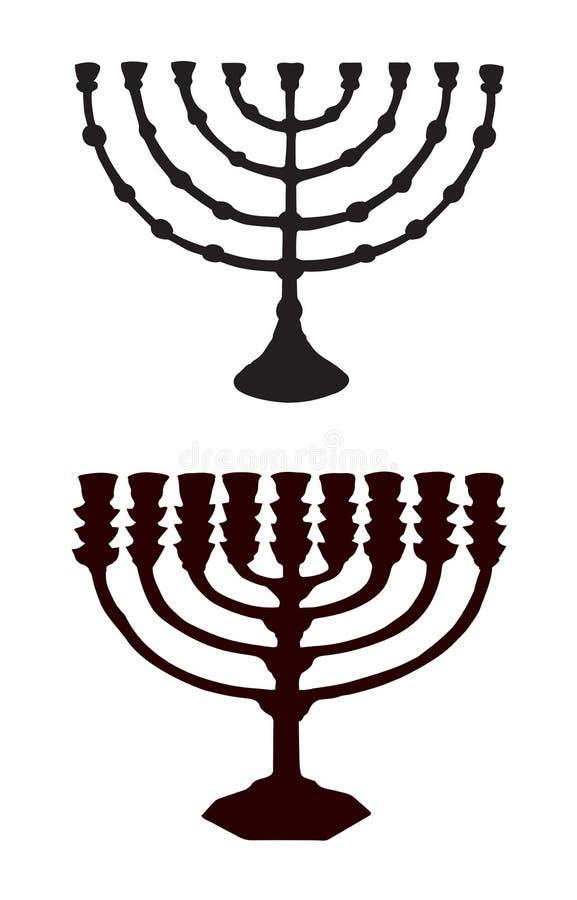 Menorah. Vector drawing. Old chanuka. Hanukka candelabrum. Dark ink hand drawn chanukkah logotype. Judaic hanukah in art etching style on white paper. Closeup royalty free illustration