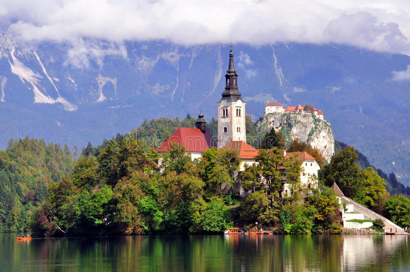 Old Chapel On Bled Lake Stock Image