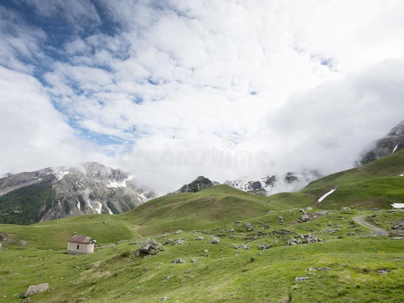 Old chapel near col de vars in french alps of haute provence stock photos