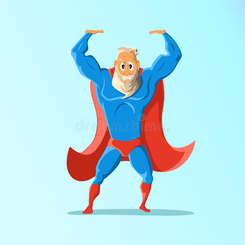 Old charismatic hipster Superhero. Superhero in action. Vector illustration. Old charismatic hipster Superhero. Superhero in action. Vector illustration vector illustration
