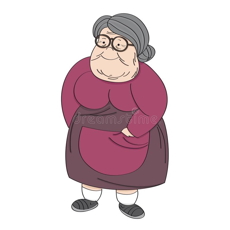Old cheerful grey-haired obese senior woman, standing and smiling. Original hand drawn illustration.  vector illustration