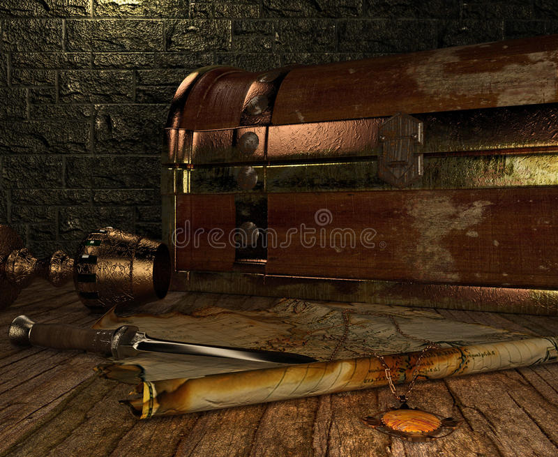 Old chest. This image is 3D illustration stock illustration