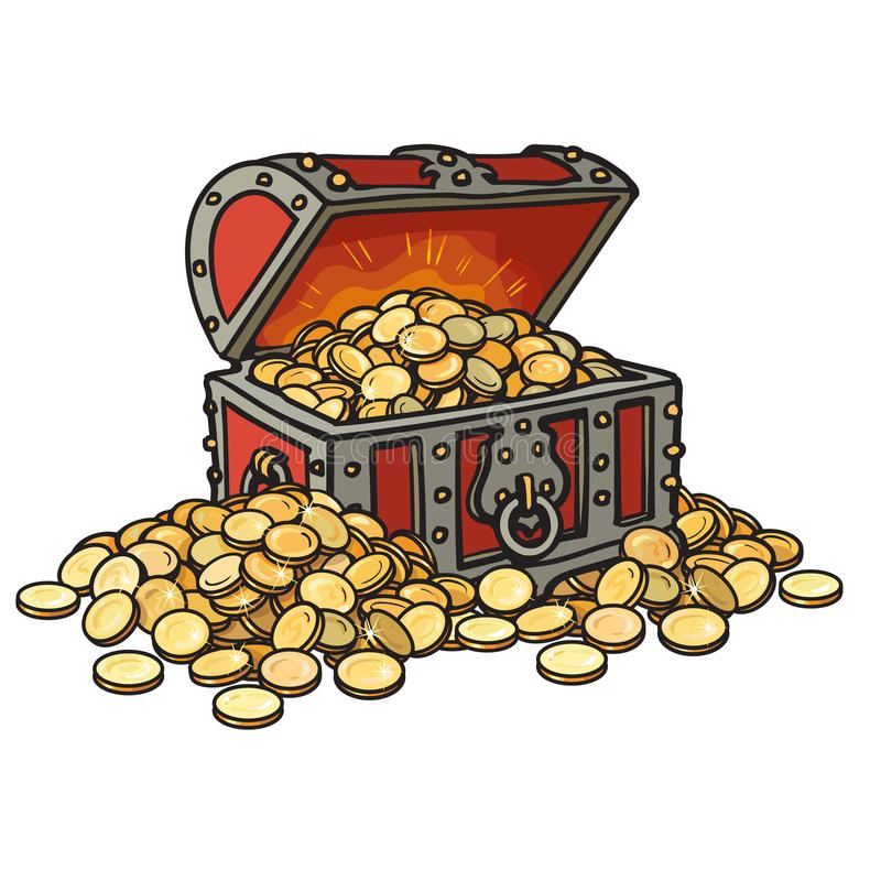 Old chest with gold coins. Piles of coins around. Cartoon style hand drawn vector illustration. royalty free illustration