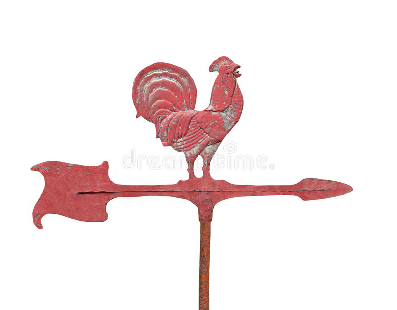 Old chicken weathervane isolated. stock images