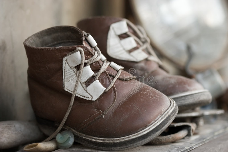 Old chid's shoes royalty free stock photo
