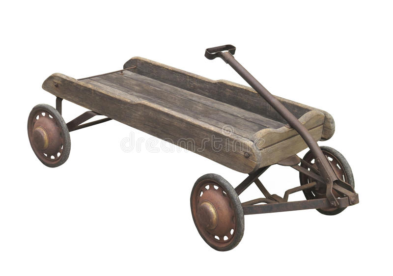 Old child's wooden wagon isolated. Old, worn, and weathered wooden child's pull wagon with rusted handle and wheels. Isolated on white stock photos