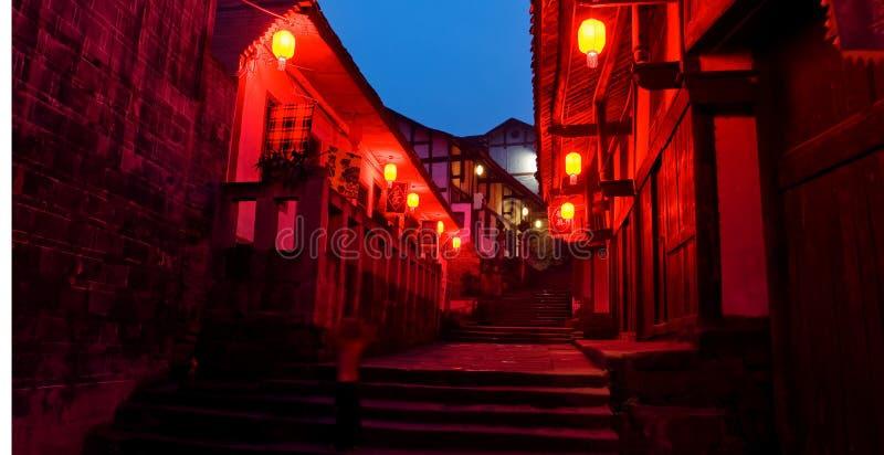 Old china town red lantern night royalty free stock photos