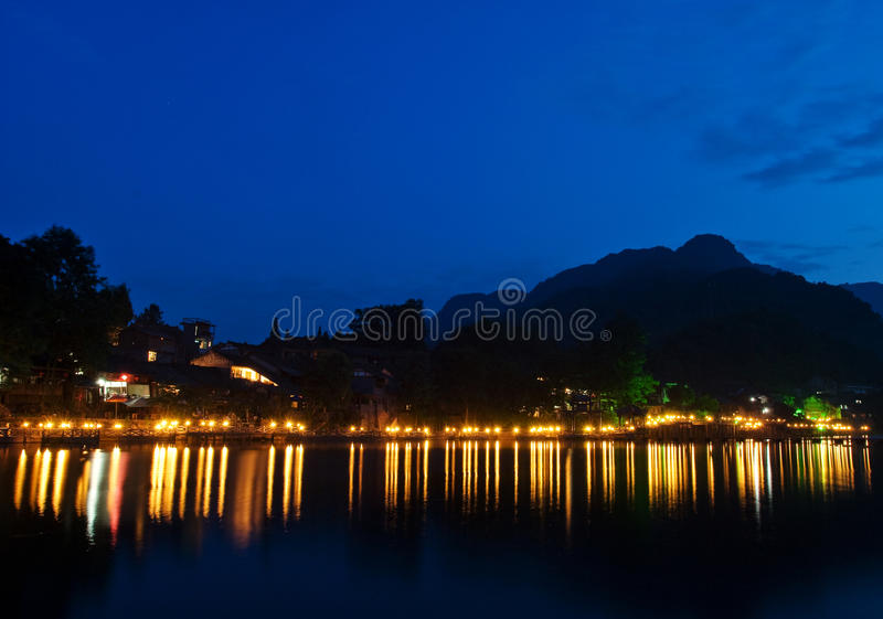 Old china town river potamic evening glow stock photography
