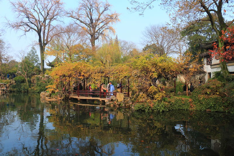Old chinese classical corridor and architecture at liuyuan garden at autumn stock image