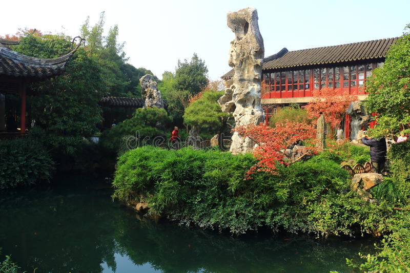 Old chinese classical rockery and architecture at liuyuan garden at autumn royalty free stock image