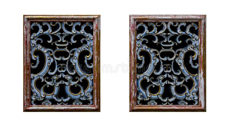 Old Chinese style window isolated on a white background royalty free stock photos