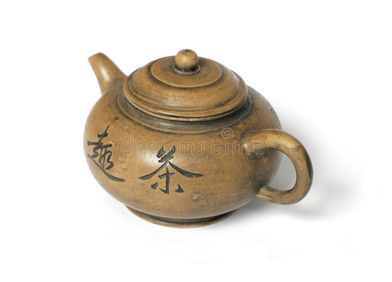 Old Chinese Tea Pot isolated on white stock photos