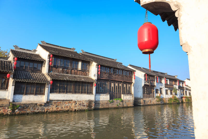 An old Chinese traditional town by the Grand canal,suzhou,China royalty free stock image