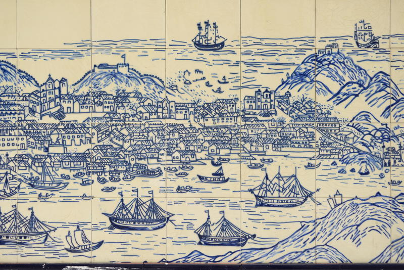 Download Old Chinese Wall Tiles Depicting Macao Island Stock Image - Image: 27362123