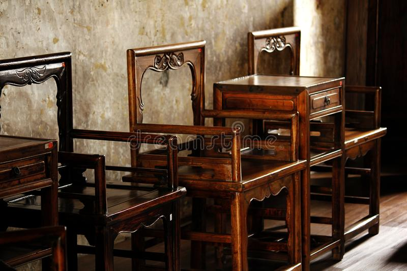 Chinese style wooden chair old stock images