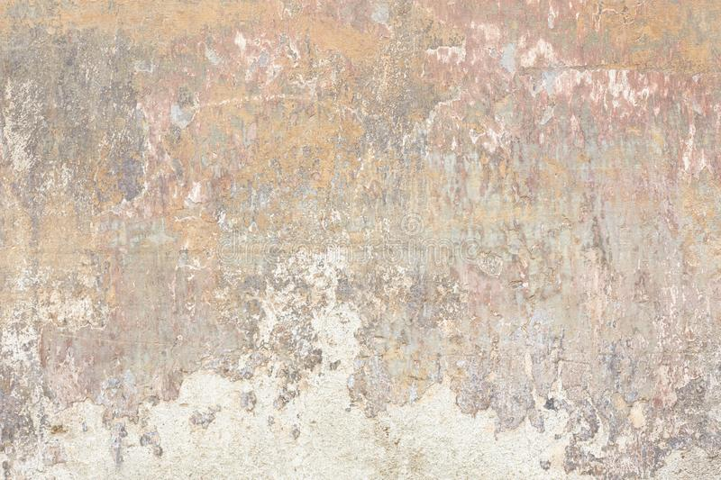 Old chipped and faded wall texture background stock photo