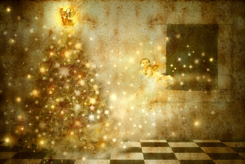 Old Christmas Card angels and tree in home. Old Christmas Card, angels carrying the spirit of Christmas at home royalty free stock photos