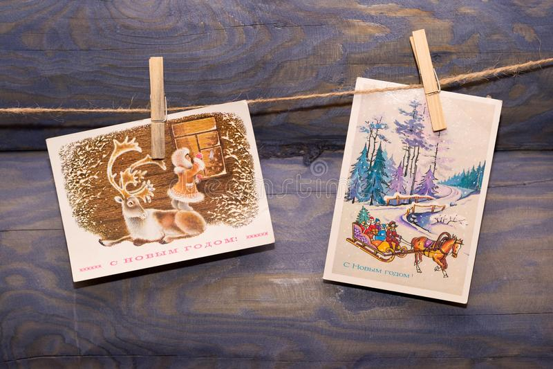 Old Christmas cards stock image