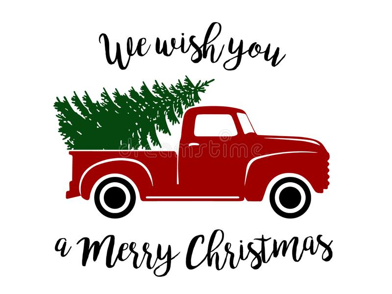 Old Christmas Truck. Old type red truck with Christmas tree and wishes - clipart, vector graphic