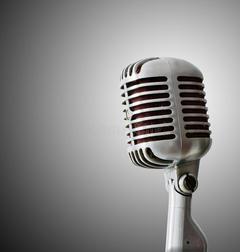 Download Old Chrome microphone stock photo. Image of white, color - 21504548