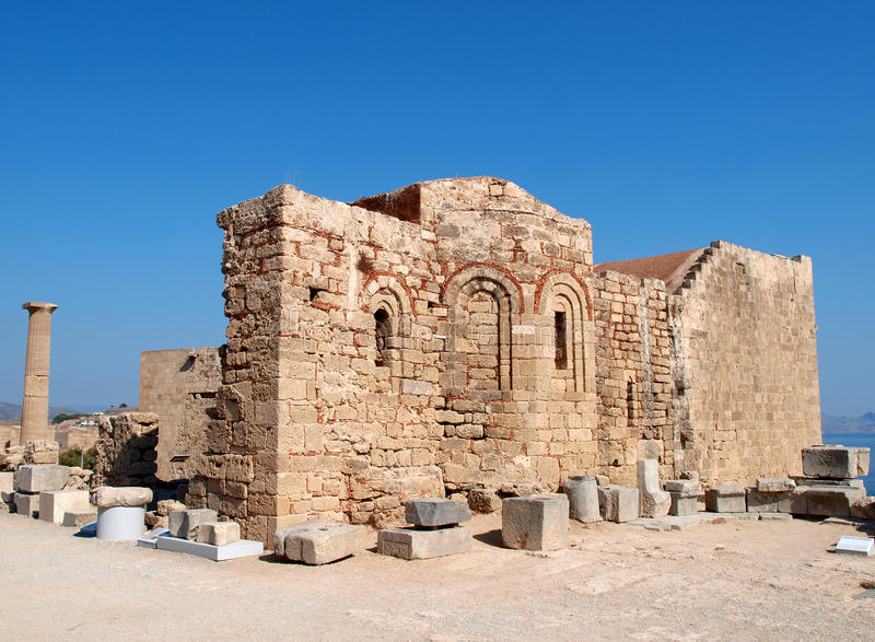 Old church. Ruins on Lindos Acropolis, Rhodes-Greece royalty free stock image