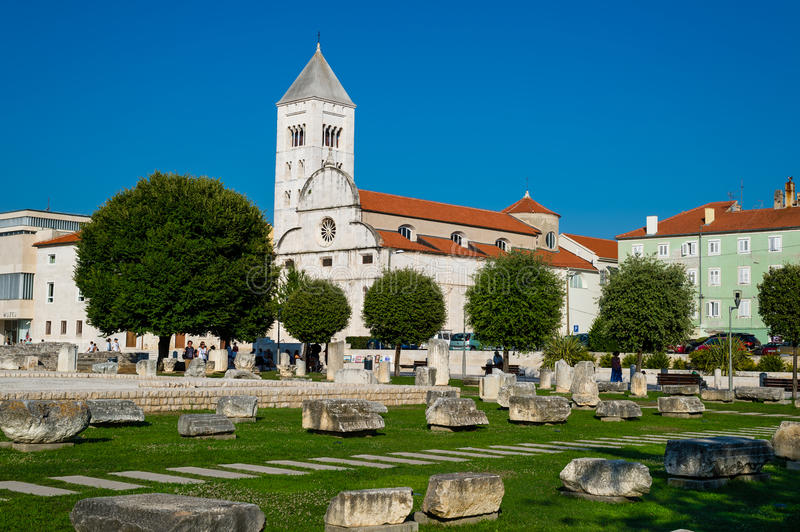 Old church and ancient ruins in Zadar, Croatia. royalty free stock photo