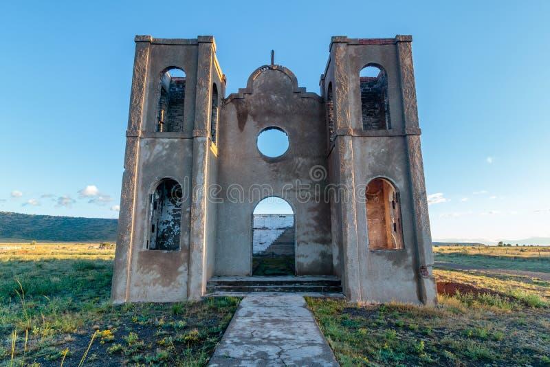 Old Church in Antonito Colorado. An old abandoned adobe church in ruins located in Antonito Colorado stock image