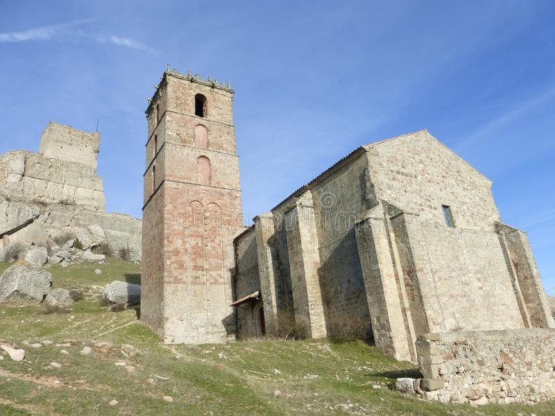 OLD CHURCH IN ATIENZA, SPAIN. OLD CHURCH IN ATIENZA VILLAGE, GUADALAJARA royalty free stock photo
